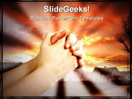 Praying Hands Religion PowerPoint Template 0610