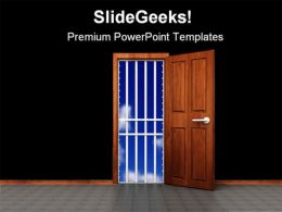 Prison Door Business PowerPoint Templates And PowerPoint Backgrounds 0711