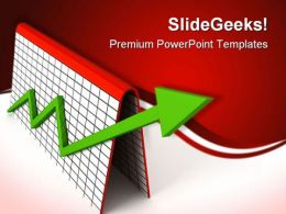 Profit Graph With Green Arrow Business PowerPoint Templates And PowerPoint Backgrounds 0811