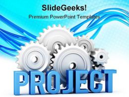 Project With Cogs Business PowerPoint Templates And PowerPoint Backgrounds 0511