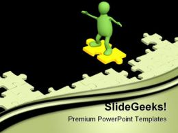 Puppet Sliding On Puzzles Metaphor PowerPoint Templates And PowerPoint Backgrounds 0511