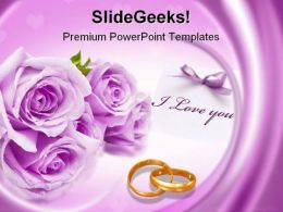 Purple Rose Wedding PowerPoint Template 0610