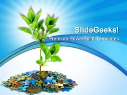 Puzzle And Plant Business PowerPoint Templates And PowerPoint Backgrounds 0511