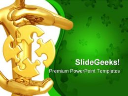 Puzzle Between Hands Symbol PowerPoint Templates And PowerPoint Backgrounds 0811