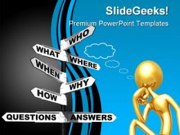 Questions Answers Signpost Business PowerPoint Templates And PowerPoint Backgrounds 0911