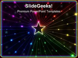 Rainbow Star Beauty PowerPoint Template 0810