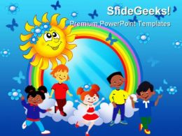 Rainbow Sun With Kids Abstract PowerPoint Template 1110