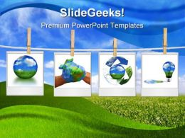 Recycle Collage Globe PowerPoint Template 0810
