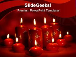 Red Candles Christmas PowerPoint Template 0610