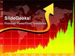 Red Chart Arrow On World Map Background PowerPoint Templates And PowerPoint Backgrounds 0711