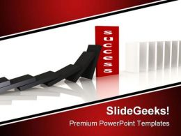 Red Domino Blocking The Fall Success PowerPoint Template 0910