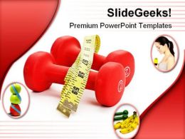 Red Dumbbell Health PowerPoint Templates And PowerPoint Backgrounds 0411