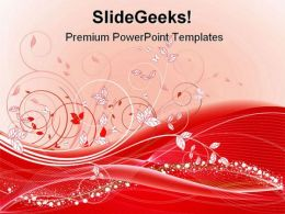 Red Floral Abstract Beauty PowerPoint Template 0910