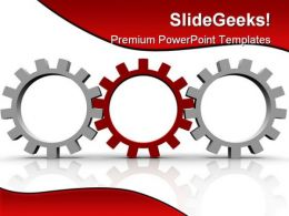 Red Gear Leadership PowerPoint Template 0810