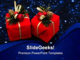 Red Gifts Christmas PowerPoint Background And Template 1210