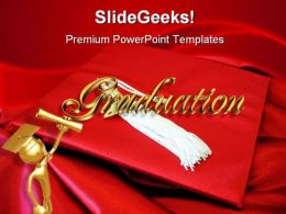 Red Graduation Cap Education PowerPoint Backgrounds And Templates 1210