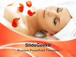 Red Petals Spa With Water Beauty PowerPoint Templates And PowerPoint Backgrounds 0311