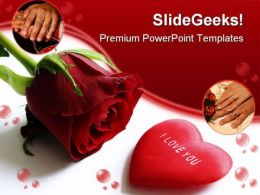 Red Rose And Heart Wedding PowerPoint Templates And PowerPoint Backgrounds 0311