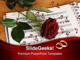 Red Rose Wedding PowerPoint Template 0610