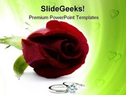 Red Rose With Rings Wedding PowerPoint Templates And PowerPoint Backgrounds 0711