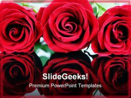 Red Roses Beauty PowerPoint Template 0610