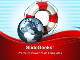 Rescue Icon World Globe PowerPoint Templates And PowerPoint Backgrounds 0811