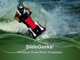 Riding A Jetski Holidays PowerPoint Templates And PowerPoint Backgrounds 0611