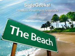 Road Sign Beach PowerPoint Templates And PowerPoint Backgrounds 0711