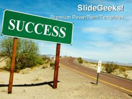 Road Sign On Desert Success PowerPoint Templates And PowerPoint Backgrounds 0811  Presentation Themes and Graphics Slide01