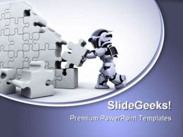 Robot Solving Jigsaw Puzzle Business PowerPoint Templates And PowerPoint Backgrounds 0711