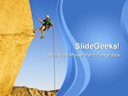 Rock Climber Rappelling Vacations PowerPoint Templates And PowerPoint Backgrounds 0811