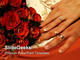Roses Rings Wedding PowerPoint Template 0610