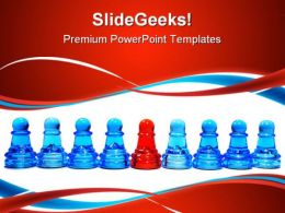 Row Of Pawns Leadership PowerPoint Templates And PowerPoint Backgrounds 0711