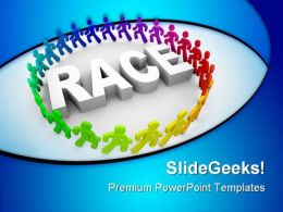 Runners Around World Race Competition PowerPoint Templates And PowerPoint Backgrounds 0611