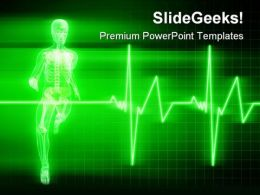 Running Heart Beat Medical PowerPoint Templates And PowerPoint Backgrounds 0211