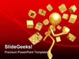 Running With Dice Symbol PowerPoint Templates And PowerPoint Backgrounds 0811