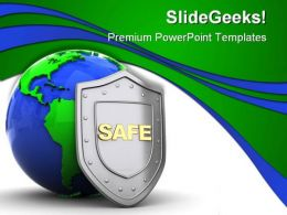 Safe Protect Earth PowerPoint Template 0910