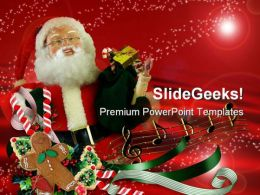 Santa Abstract Holidays PowerPoint Template 1010