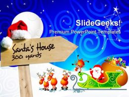 Santa House Signpost Holidays PowerPoint Templates And PowerPoint Backgrounds 0811