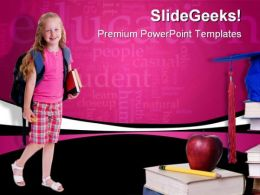 School Girl Education PowerPoint Template 0810