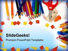 School Supplies Education PowerPoint Template 1010