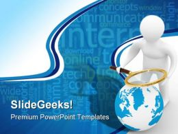 Search Globe People PowerPoint Template 0610