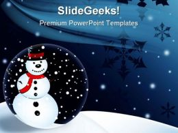 Snowman Christmas Holidays PowerPoint Template 1010