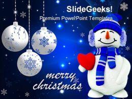 Snowman Christmas Holidays PowerPoint Template 1110