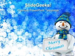 Snowman Wishing Christmas Festival PowerPoint Templates And PowerPoint Backgrounds 0511