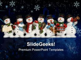 Snowmen Celebrating Christmas Festival PowerPoint Templates And PowerPoint Backgrounds 0711