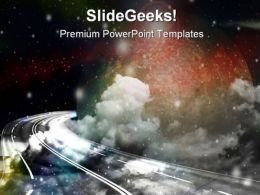 Space Route Science PowerPoint Template 0910