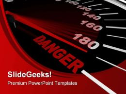 Speedometer Shows Danger Travel PowerPoint Templates And PowerPoint Backgrounds 0411