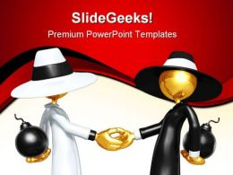 Spy Games Handshake PowerPoint Templates And PowerPoint Backgrounds 0811
