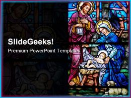 Stained Glass Religion PowerPoint Template 0610